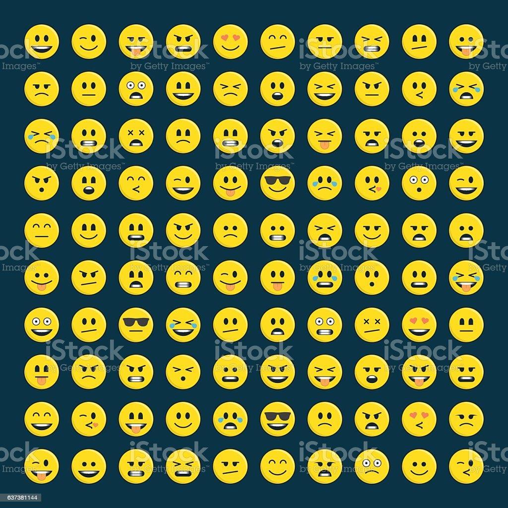 Set of emoticons icon pack. - ilustração de arte em vetor