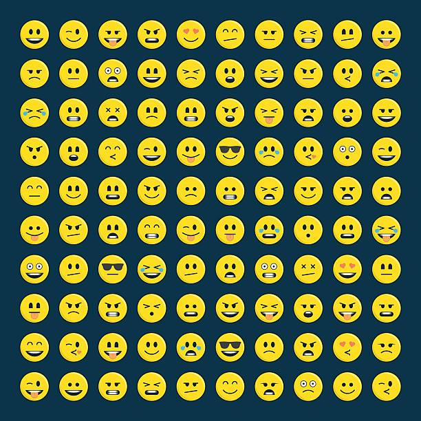 set of emoticons icon pack. - tears of joy emoji stock illustrations, clip art, cartoons, & icons