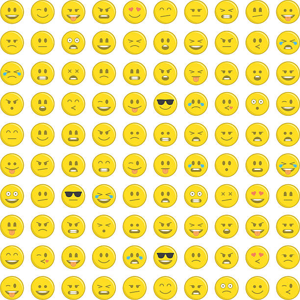 set of emoticons icon. - tears of joy emoji stock illustrations, clip art, cartoons, & icons