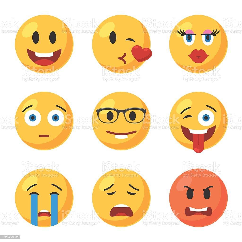 Set of Emoticons icons - ilustração de arte em vetor