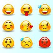 Set of Emoticons. Set of Emoji. Isolated vector illustration on white background.