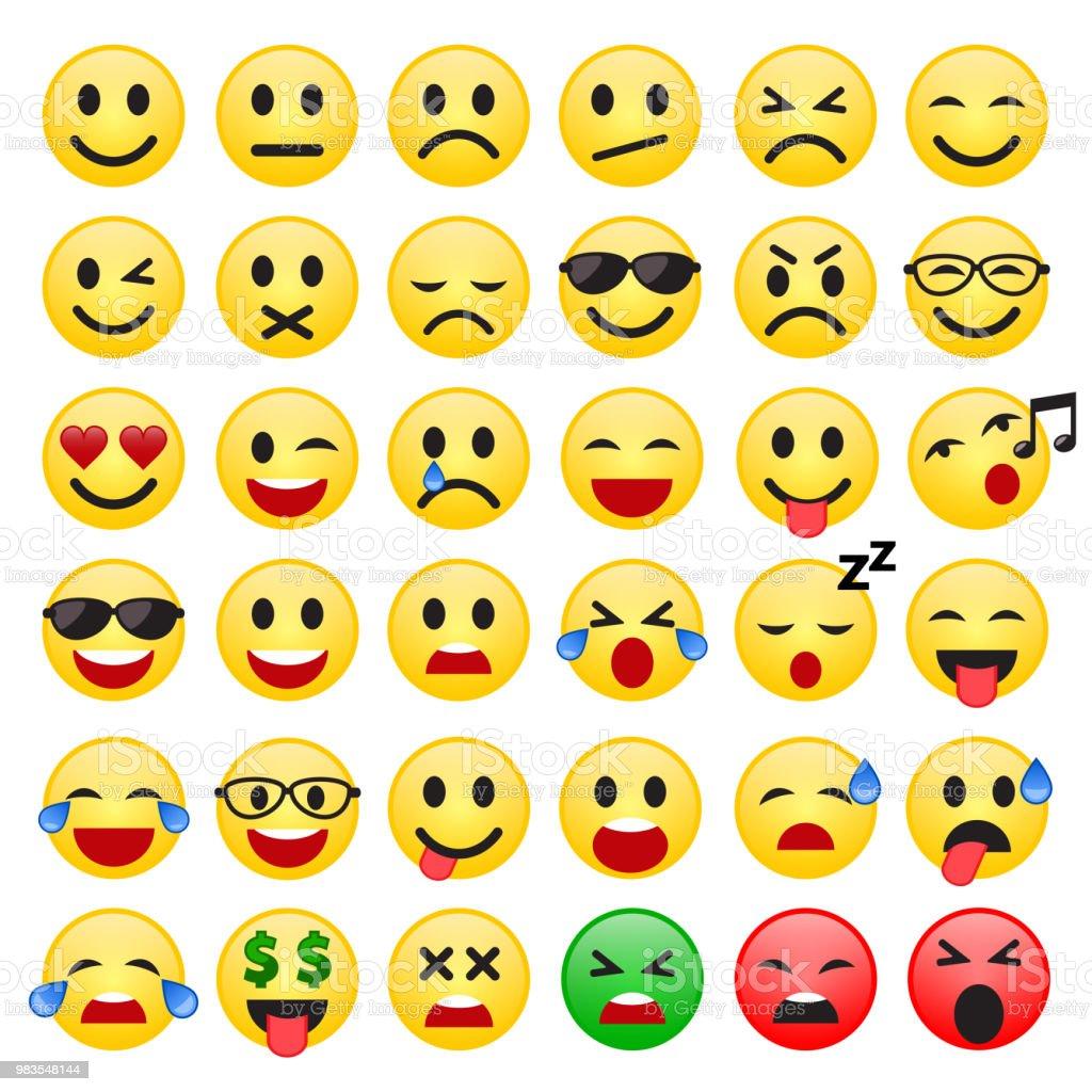Satz Von Emoticons Satz Von Emoji Lächeln Sie Symbole Vektor Stock Vektor Art Und Mehr Bilder Von Auge