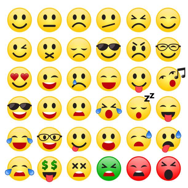 set of emoticons. set of emoji. smile icons. vector. - tears of joy emoji stock illustrations, clip art, cartoons, & icons