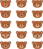 Emoji isolated on transparent background, vector illustration. Cartoon bear stickers emoticons. Character design. Bear face emotions