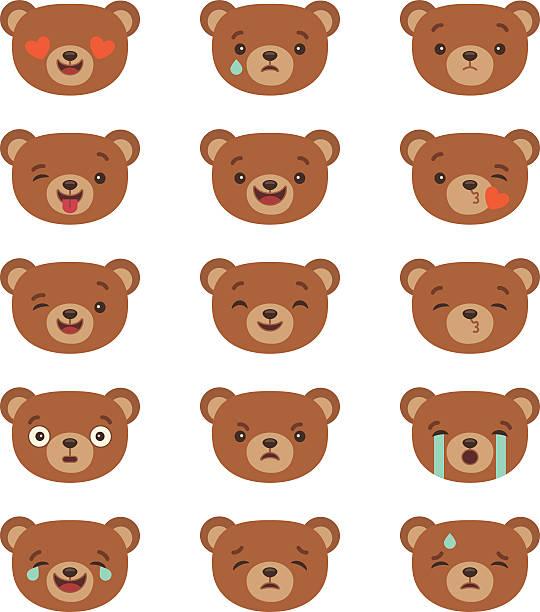 illustrations, cliparts, dessins animés et icônes de ensemble de émoticônes - ours
