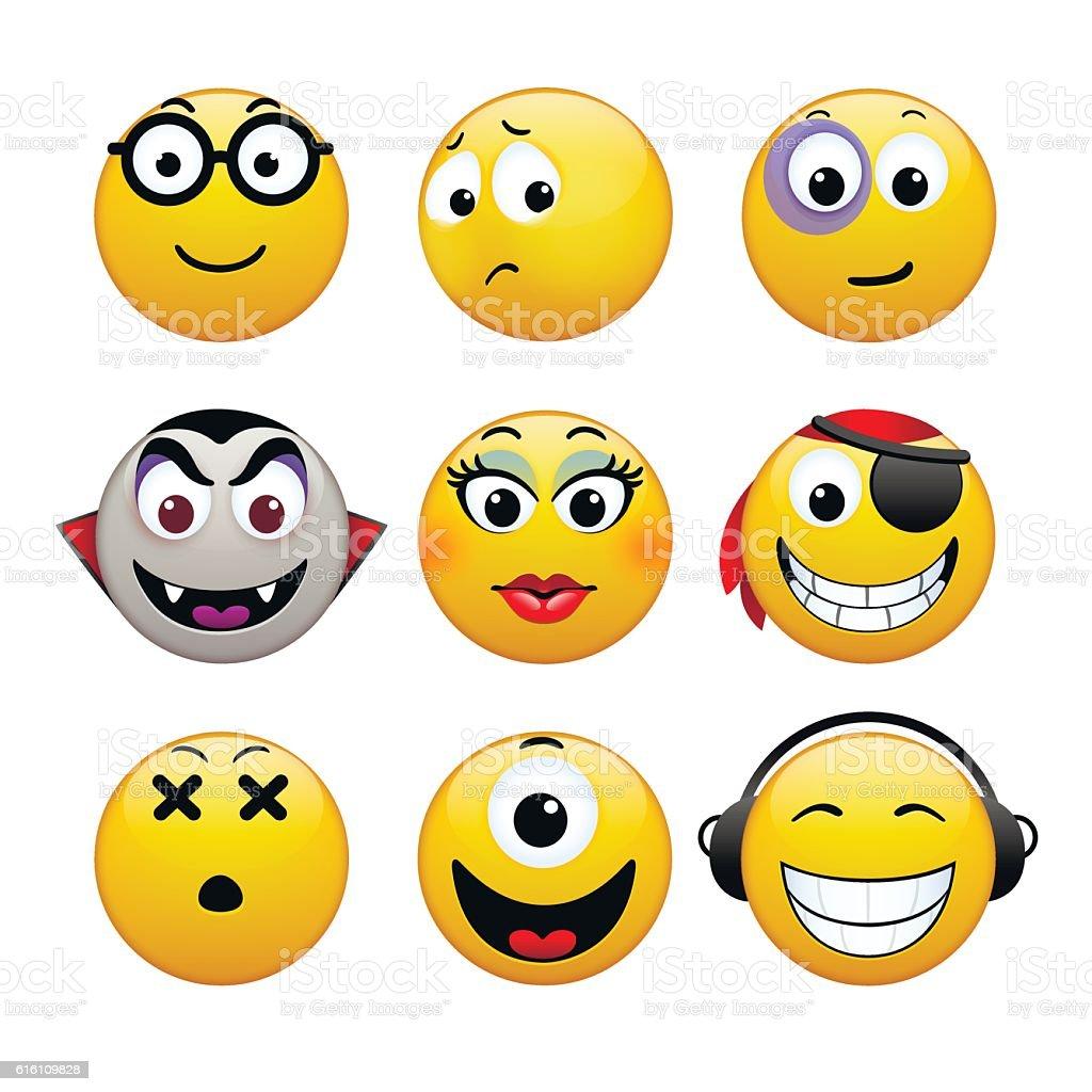 Set of emoticons vector art illustration