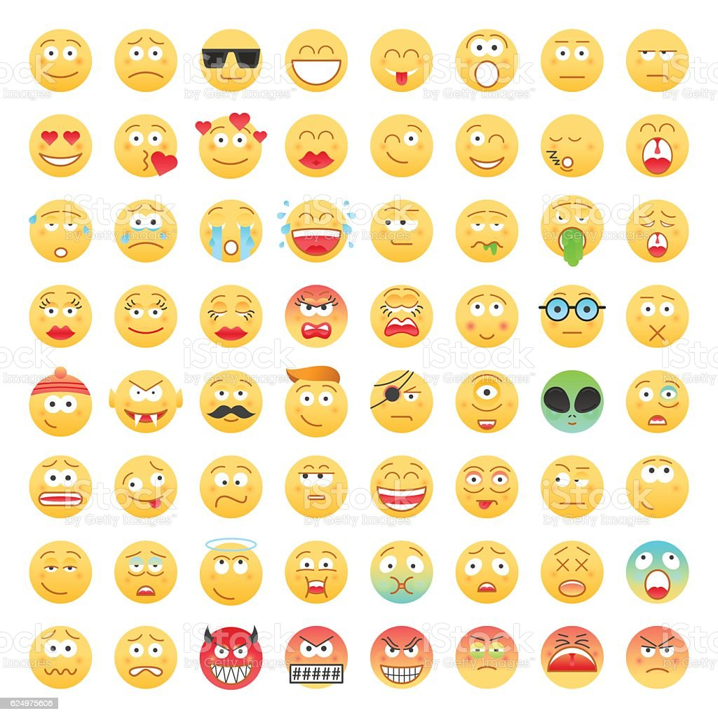 Set of Emoticons vector art illustration