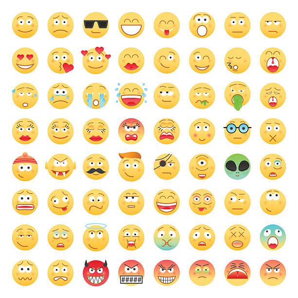 Juego de Emoticons - ilustración de arte vectorial