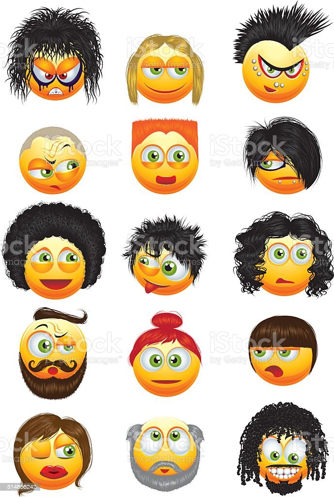 Set of emoticons with hairstyles vector art illustration