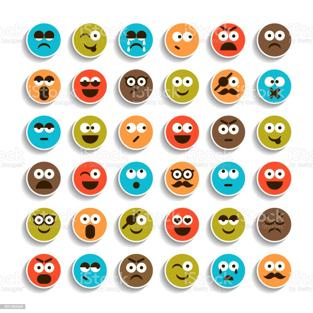 Set of emotion smiling faces icons vector art illustration