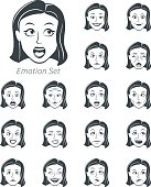 Vector illustration of the emotion of the woman.