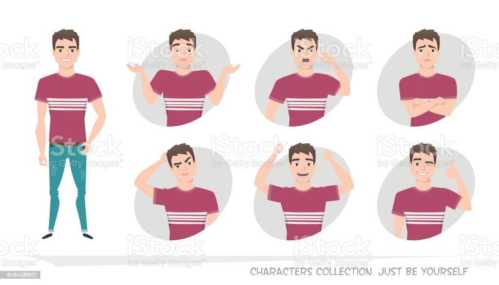 Set of emotions and gestures to the young man. vector art illustration