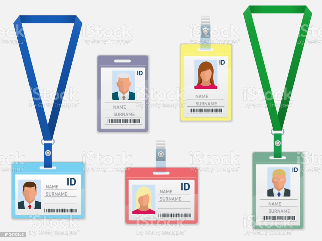 set of employees identification white blank plastic id cards with clasp and lanyards isolated royalty - Plastic Id Cards