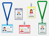 Set of Employees Identification White Blank Plastic Id Cards with Clasp and Lanyards Isolated