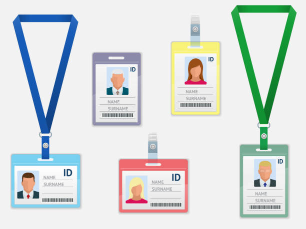 Set of Employees Identification White Blank Plastic Id Cards with Clasp and Lanyards Isolated Set of Employees Identification White Blank Plastic Id Cards with Clasp and Lanyards Isolated Vector Illustration id card stock illustrations
