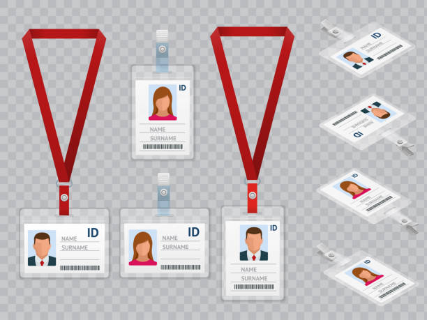Set of Employees Identification White Blank Plastic Id Cards with Clasp and Lanyards Isolated Vector Illustration Set of Employees Identification White Blank Plastic Id Cards with Clasp and Lanyards Isolated on Ttransparent Vector Illustration View Top and Isometric id card stock illustrations