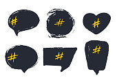 Set of empty bubble banners with hashtags. trendy design for young slang words. Vector illustration.