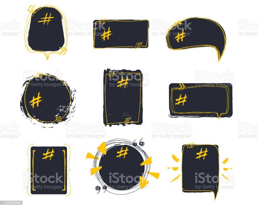 Set Of Empty Bubble Banners With Hashtags Trendy Design For