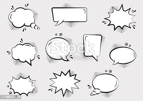 Set of empty comic speech bubbles different shapes with halftone shadows and stars. Comic sound effects in pop art style. Vector illustration