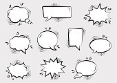 Set of empty comic speech bubbles different shapes with halftone shadows and stars, hand drawn. Comic sound effects in pop art style. Vector illustration