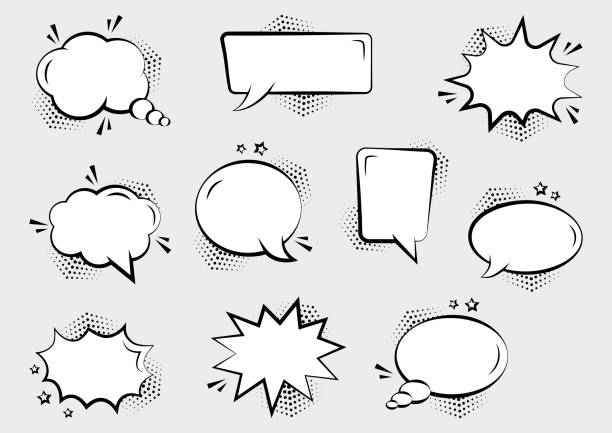Set of empty comic speech bubbles different shapes with halftone shadows and stars. Comic sound effects in pop art style. Vector illustration Set of empty comic speech bubbles different shapes with halftone shadows and stars, hand drawn. Comic sound effects in pop art style. Vector illustration amusing stock illustrations