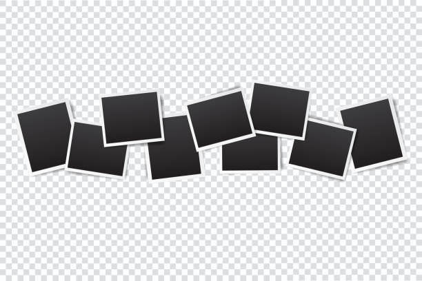 ilustrações de stock, clip art, desenhos animados e ícones de set of empty photo frame with white border and black rectangle element on transparent background. template or mockup decoration for design - clip art