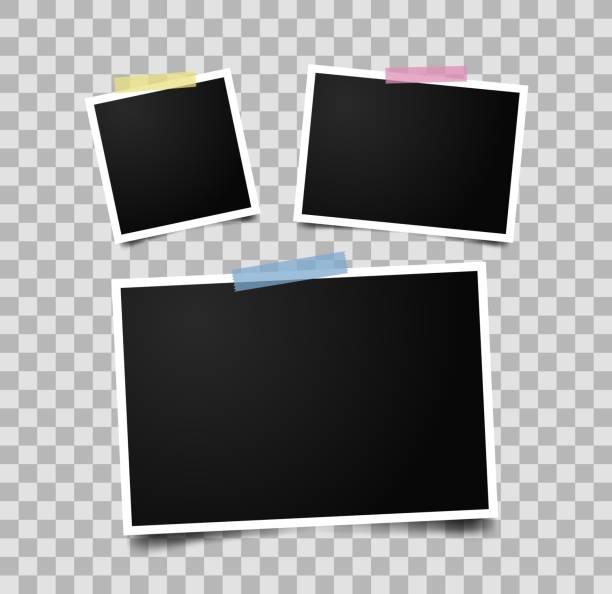 satz von leeren fotorahmen. - fotografische themen stock-grafiken, -clipart, -cartoons und -symbole