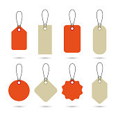 Set of empty price tags in different shapes. Blank paper labels with string mockup isolated white.