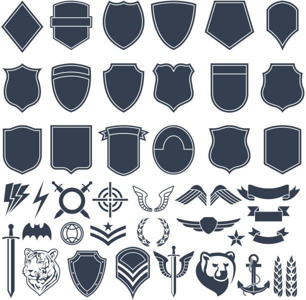 stockillustraties, clipart, cartoons en iconen met het aantal lege vormen voor militaire badges. leger monochroom symbolen - patchwork