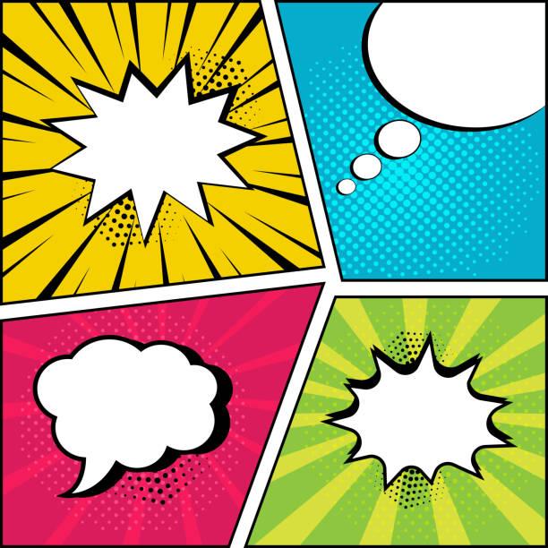 illustrations, cliparts, dessins animés et icônes de jeu de bulles vides sur fond clair bande dessinée dans le style pop art. illustration vectorielle - effets sonores