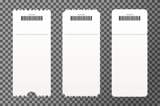 set of empty ticket templates isolated on transparent background. blank tickets mockup for entrance to the concert - tickets and vouchers templates stock illustrations