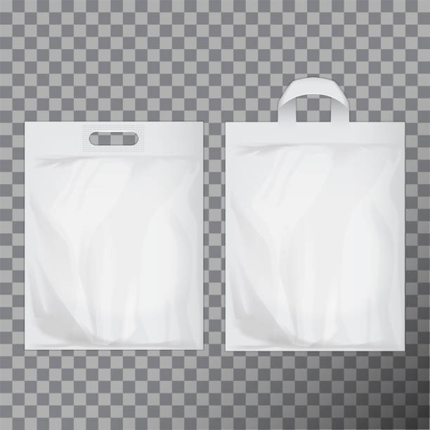 Set of empty white blank plastic bag mock up isolated. Consumer pack ready for logo design or identity presentation. Commercial product food packet handle Set of empty white blank plastic bag mock up isolated. Consumer pack ready for logo design or identity presentation. Commercial product food packet handle for your design handle stock illustrations