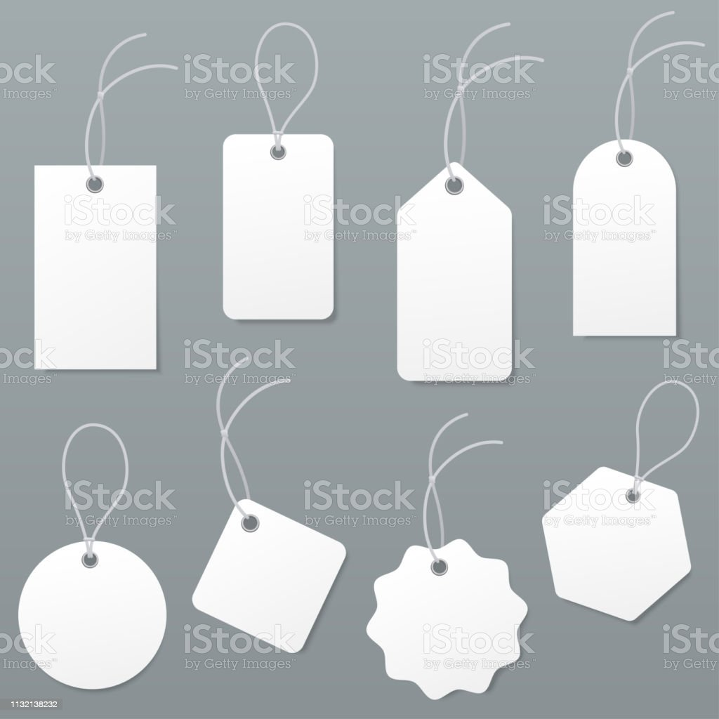 Set of empty white price tags in different shapes. Blank paper labels...