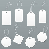 Set of empty white price tags in different shapes. Blank paper labels with string mockup isolated on grey background. luggage tag collection. Vector illustration.