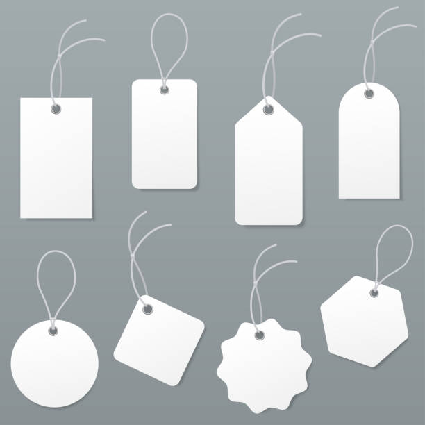 Set of empty white price tags in different shapes. Blank paper labels with string mockup isolated on grey background. luggage tag collection. Vector illustration. Set of empty white price tags in different shapes. Blank paper labels with string mockup isolated on grey background. luggage tag collection. Vector illustration. label stock illustrations