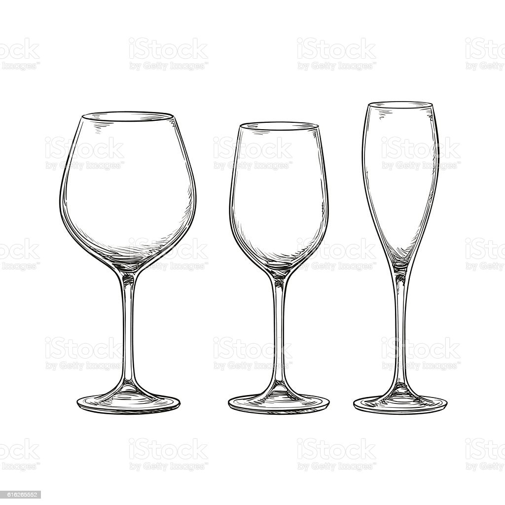 Set Of Empty Wine Glasses Stock Vector Art More Images Of Alcohol