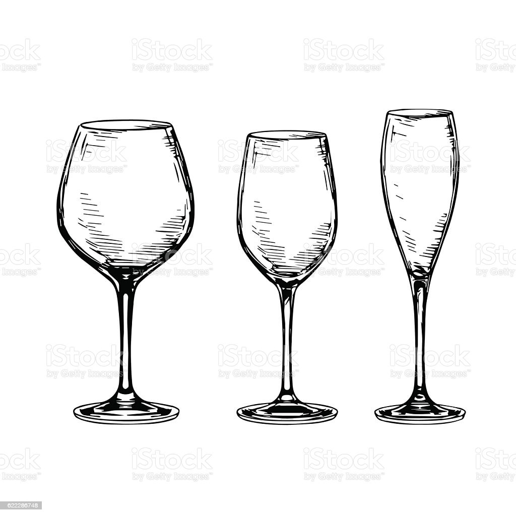 Line Drawing Glasses : Set of empty wine glasses stock vector art more images