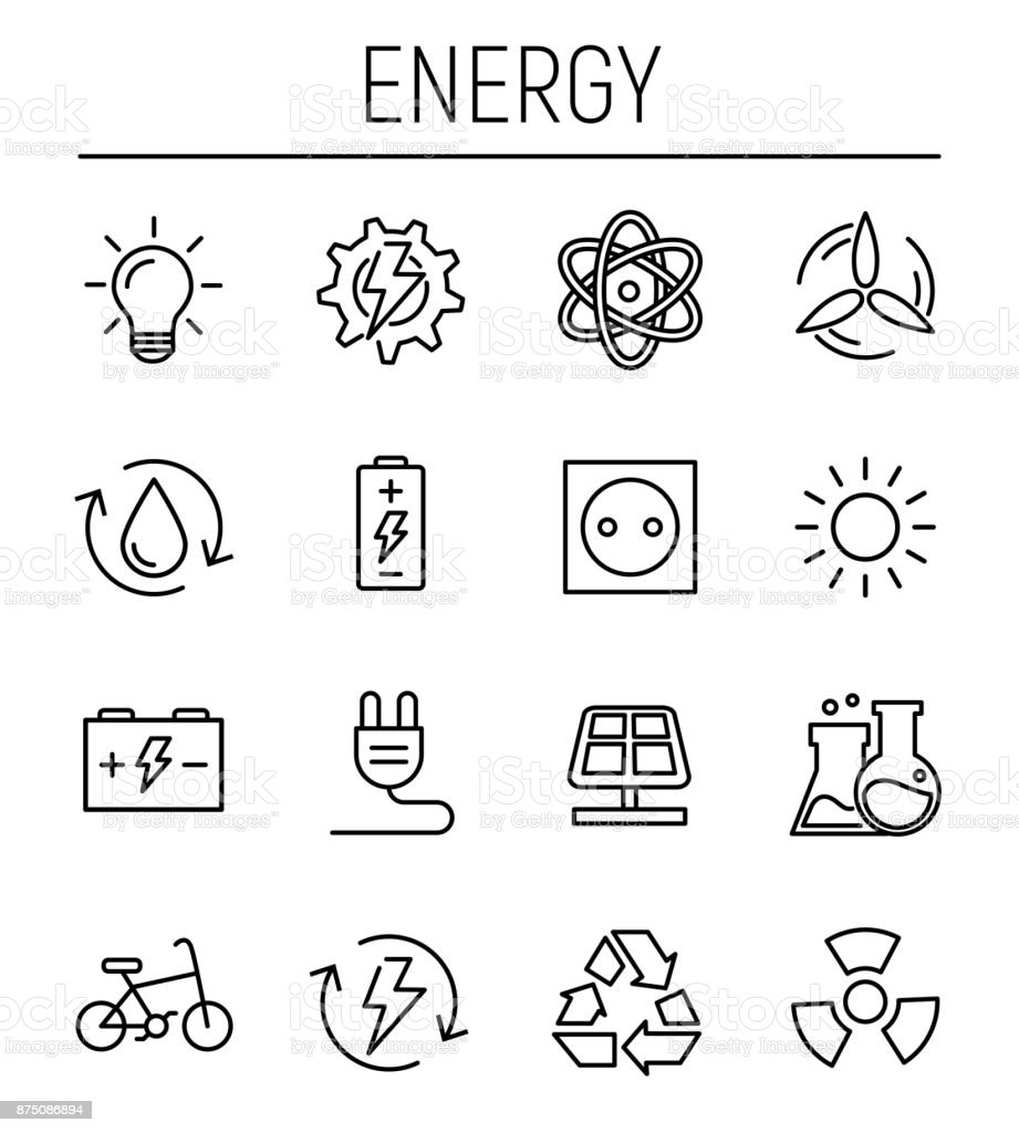 Set of energy icons in modern thin line style. vector art illustration