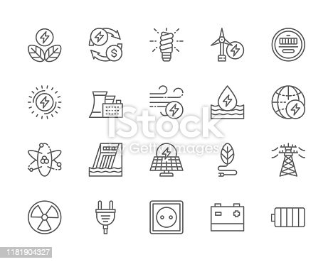 Set of Energy Industry Line Icons. Power Plant, Energy Saving Lamp, Wind Turbine, Water Dam, Solar Station, High Voltage Line, Electric Plug, Power Socket, Battery and more.