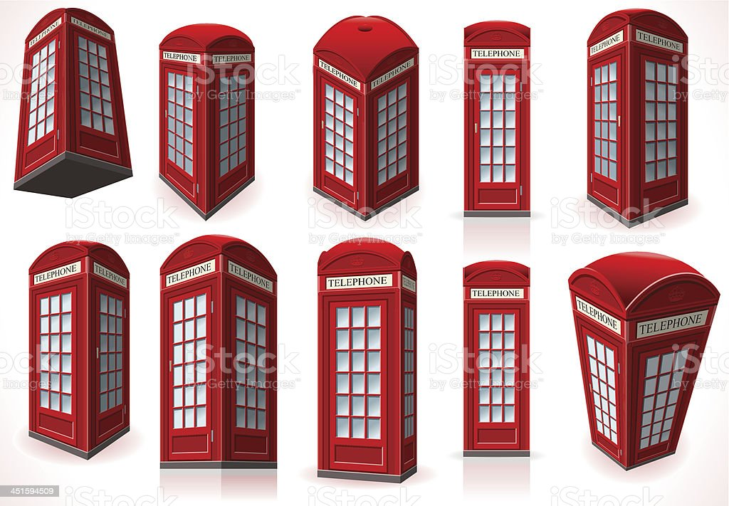 Set of English Red Telephone Cabin vector art illustration