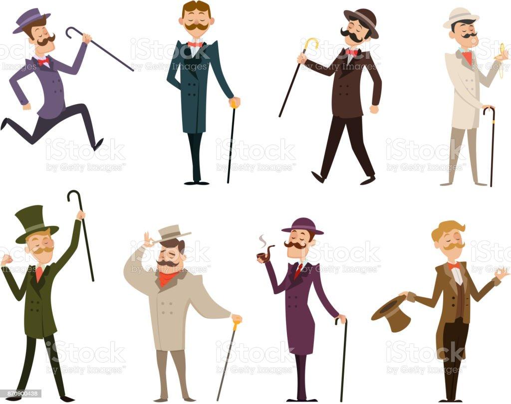 Satz von englischen viktorianischen Gentlemen. Zeichen in dynamische Posen – Vektorgrafik
