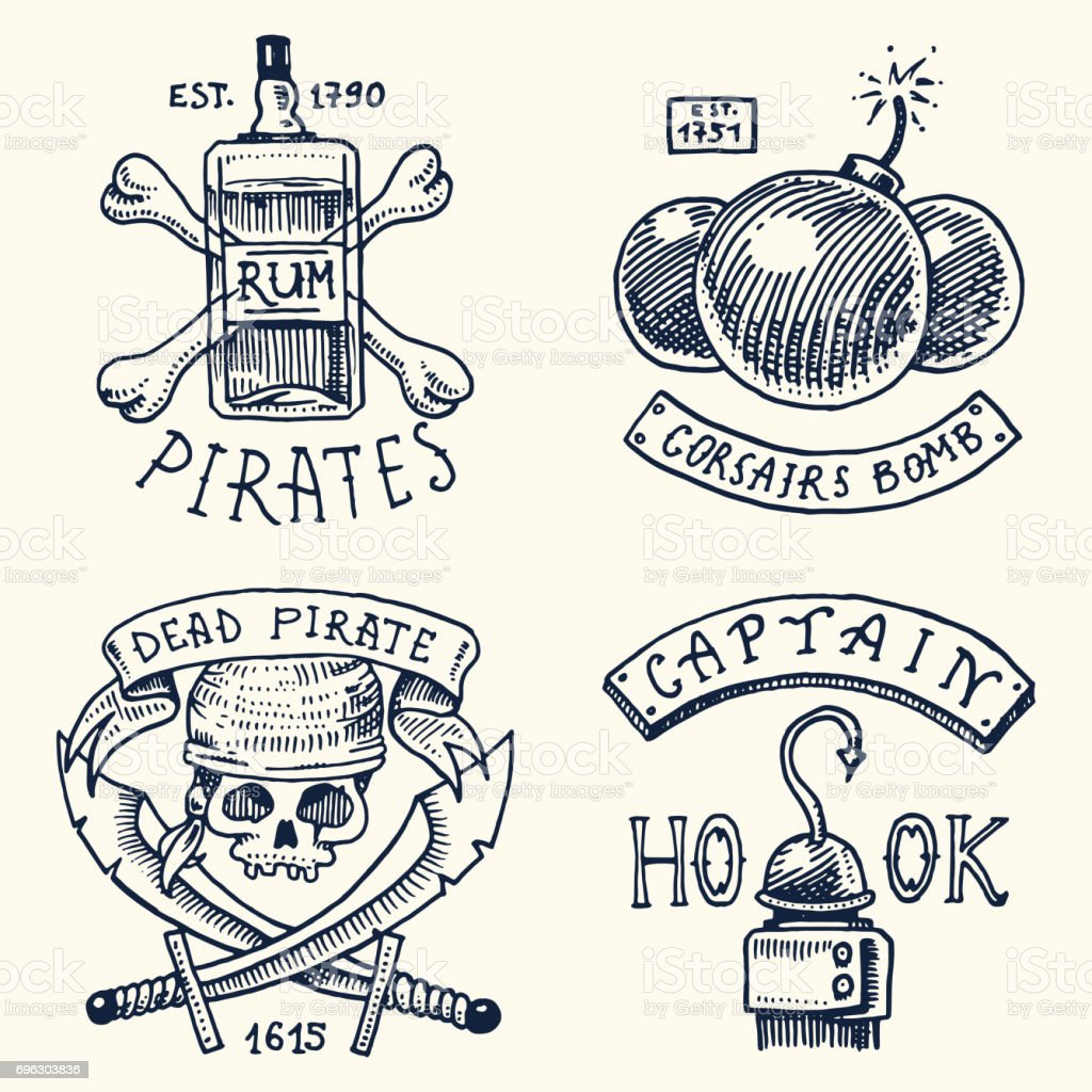 Set of engraved hand drawn old labels or badges for corsairs bottle set of engraved hand drawn old labels or badges for corsairs bottle biocorpaavc Gallery