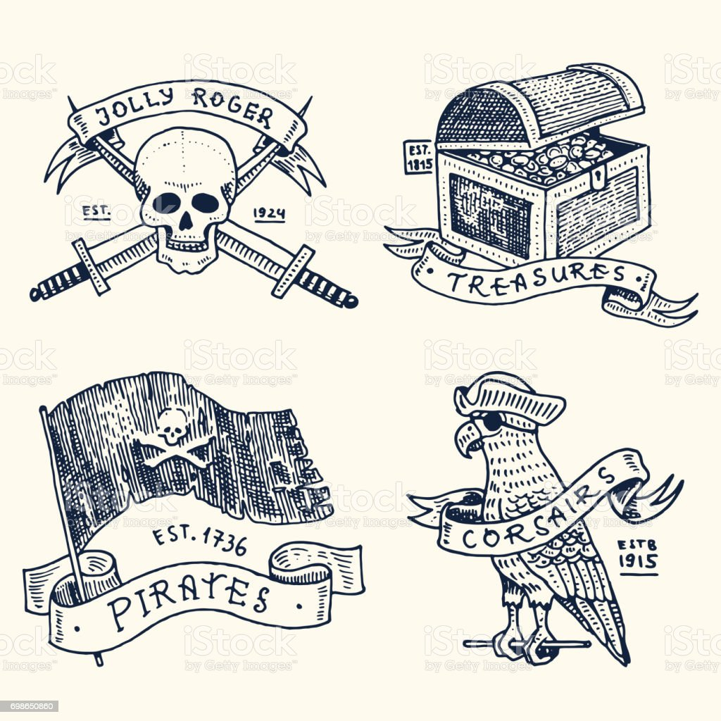 set of engraved, hand drawn, old, labels or badges for corsairs, skull at anchor, treasures, flag , Caribbean parrot. Jolly roger. Pirates marine and nautical or sea, ocean emblem vector art illustration