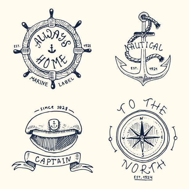 gravierte vintage-set, von hand gezeichnet, alt, etiketten oder abzeichen für kapitäne kappe, kompass, anker, lenkrad. marine und nautischen oder meer, ozean-embleme. immer zu hause - matrosenmütze stock-grafiken, -clipart, -cartoons und -symbole