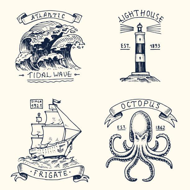 gravierte vintage-set, von hand gezeichnet, alt, etiketten oder abzeichen für atlantic tidal wave, leuchtturm und tintenfisch oder meer kreatur, fregatte oder schiff. marine und nautischen oder meer, ozean-embleme - matrosenmütze stock-grafiken, -clipart, -cartoons und -symbole