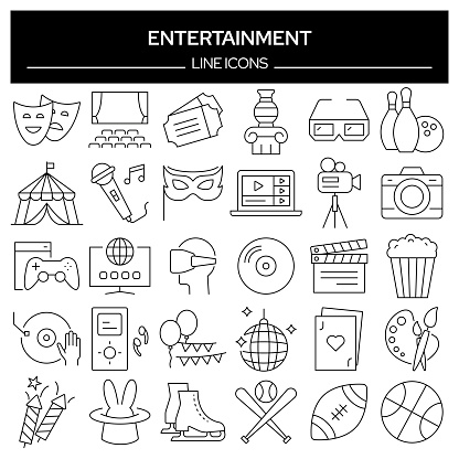 Set of Entertainment and Hobbies Related Line Icons. Outline Symbol Collection, Editable Stroke