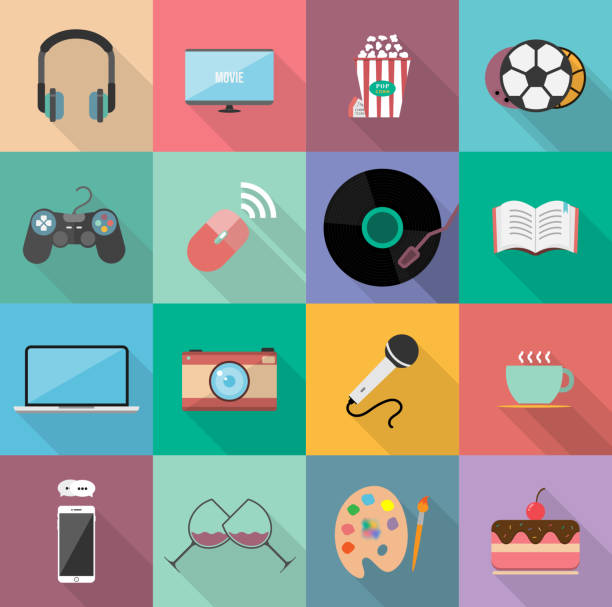 set of entertainment flat icons design, element for website, application and content.  with long shadow on square background. 12 icons. - music and entertainment icons stock illustrations