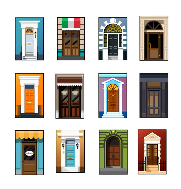 Set of entrance doors in a flat style Entrance doors. Set of entrance doors. Set of entrance doors in a flat style. Set of colorful front doors for homes and buildings. Vector illustration Eps10 file front door stock illustrations