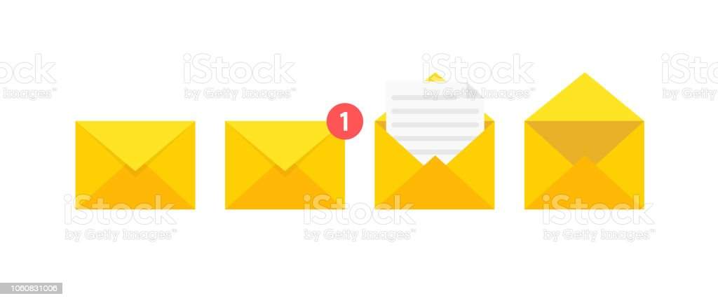 set of envelopes icons with a picture of a closed letter paper document enclosed in