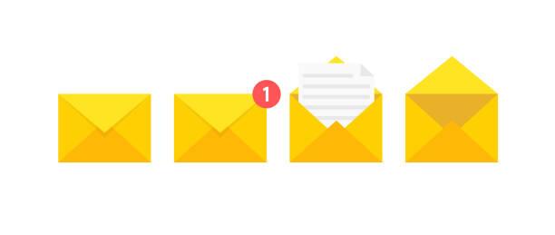 終了文字の絵の封筒のアイコンのセットです。封筒に紙のドキュメント。対応やオフィス文書の配信。ベクトルの図。 - メール点のイラスト素材/クリップアート素材/マンガ素材/アイコン素材